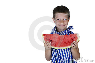 Cute child holding a watermelon slice