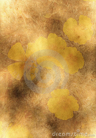 Old yellow paper background with flowers