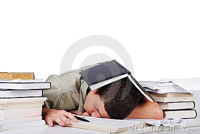 Young man fallen asleep after long reading