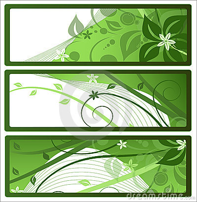 Banners or labels with floral design, vector