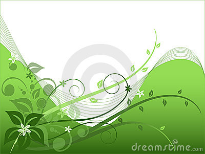 Green floral background, vector