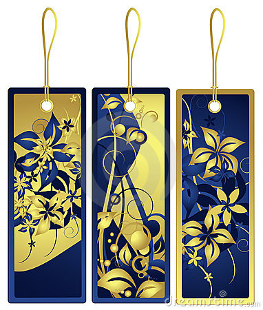 Gift tags with floral design, vector