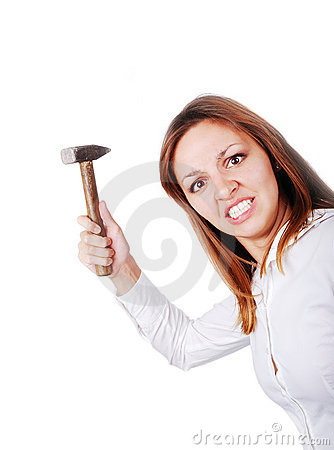 Crazy woman with hammer