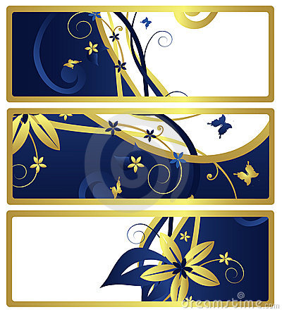 Gift tags or banners with floral design, vector