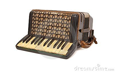 Vintage 1930s brown accordion isolated