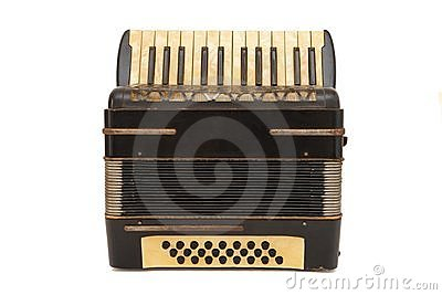 Vintage brown 1930s accordion isolated