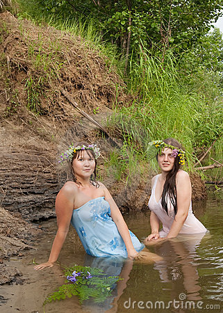 Girls in river