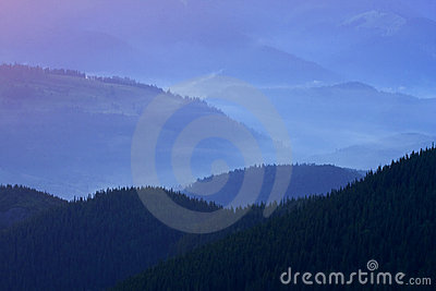 Mountains landscape with fog