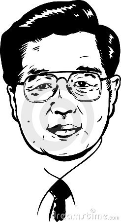 Hu Jintao portrait - black and white Version