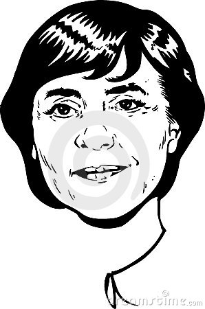 Angela Merkel portrait - black and white Version