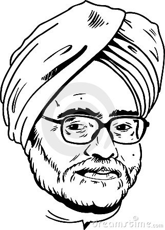 Manmohan Singh portrait - black and white Version