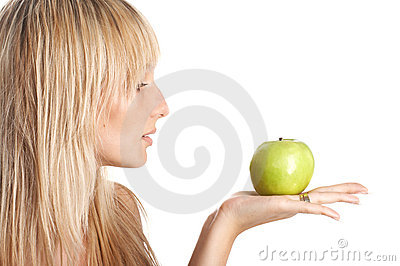 The girl with  apple