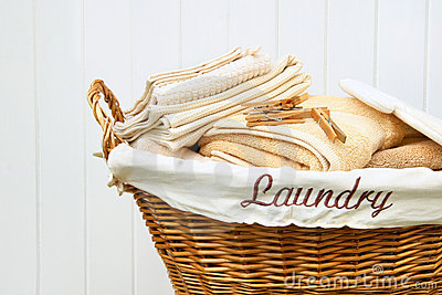 Clean towels in wicker basket