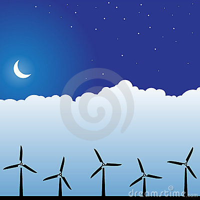 Night Sky Scene - Wind Turbines