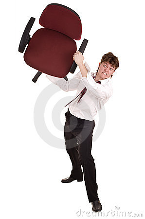 Businessman in crisis  throw chair.