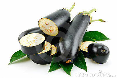 Sliced Aubergine Isolated on a White