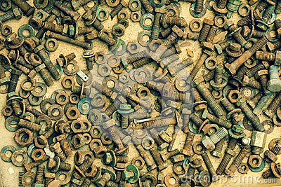 A bunch of old screws of nuts and washers