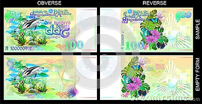 Forms for gift certificates. Funny banknotes of Atlantis.