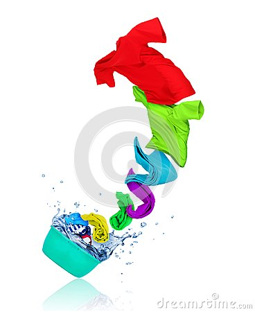 Colorful t-shirts flying out from wash bowl on white background