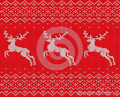 Knit christmas design with deers and ornament. Xmas seamless pattern red background. Knitted winter sweater texture.
