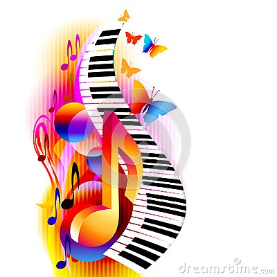 Colorful 3d music notes with piano keyboard and butterfly.