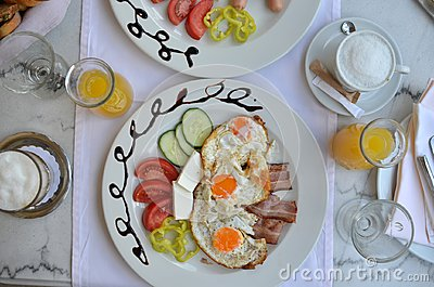 Plate with rich breakfast
