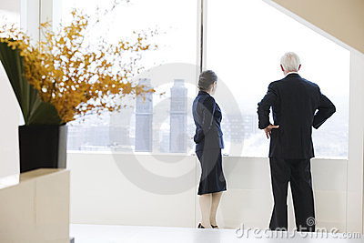 Executives looking out of office window.