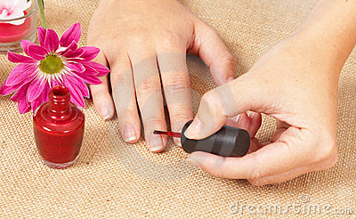 Hands of a caucasian woman with manicure
