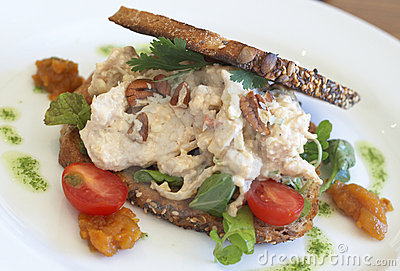 Tasty open sandwich on wholewheat bread