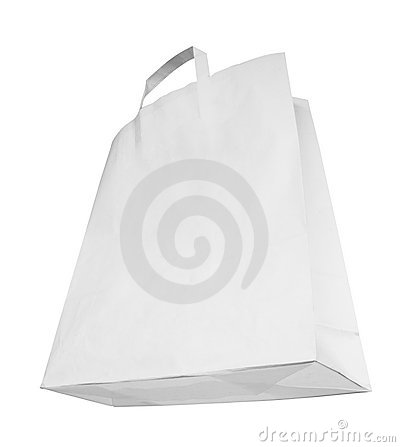 Blank white paper bag, special perspective,