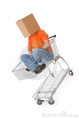 Men in with carton box on head sitting in shopping