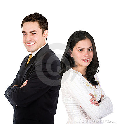 Business couple isolated