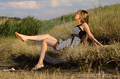Nice woman on a field