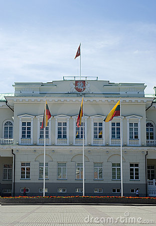 A Palace in VIlnius with flags