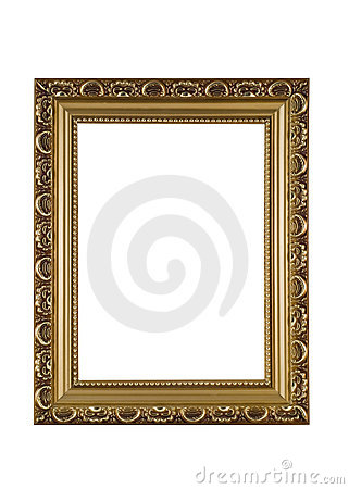 Empty golden frame for picture or portrait