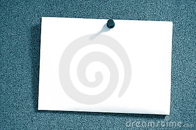 Empty sheet paper with push pin