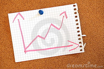 Business graph with arrow showing growth