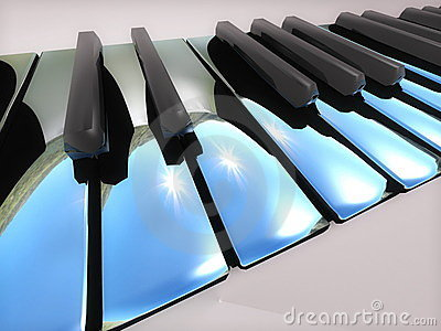 Metallic piano keys