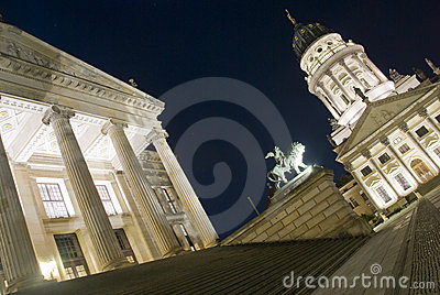 Konzerthaus And French Cathedral At Night, Berlin