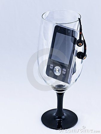 Mobile phone in a wine-glass.