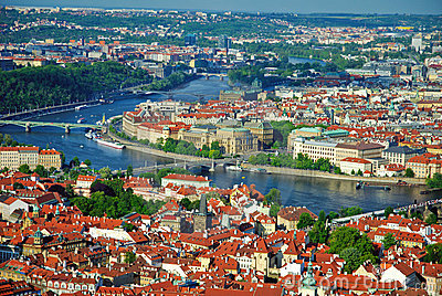View of city and river Vltava