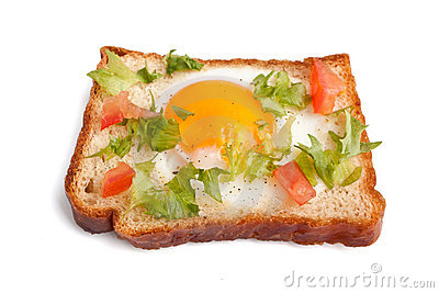 Eggie bread on white background