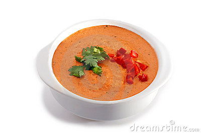 White bowl of gaspacho soup