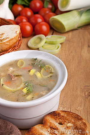 Vegetable soup on wooden table