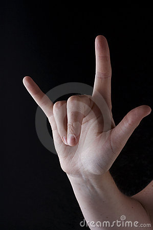 Stock photo of American Sign Language I love you