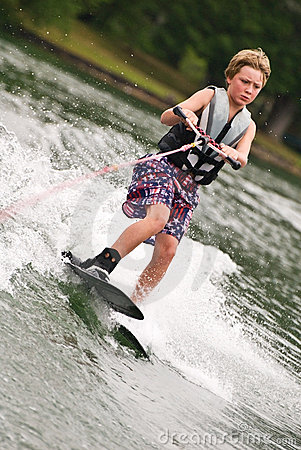 Young Boy on Trick Skis