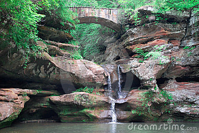 Water fall and stone bridge