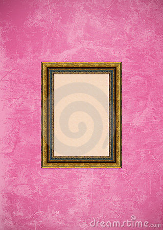 Grunge pink stucco wall with empty picture frame