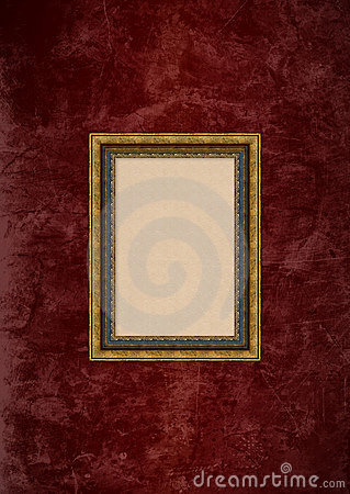 Grunge brown stucco wall with empty picture frame