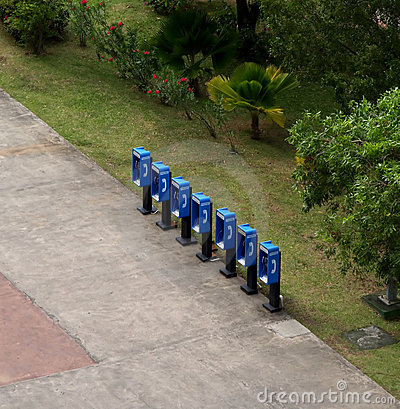 Group of blue phone booths
